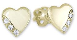 Zlaté náušnice Srdiečka s kryštálmi 239 001 01071