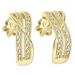 Zlaté polkruhové náušnice s kryštálmi 239 001 00978