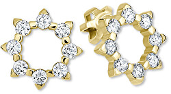 Zlaté sluníčkové náušnice s krystaly 745 239 001 00887 0000000