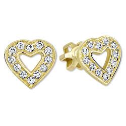 Zlaté srdiečkové náušnice s kryštálmi 239 001 00207