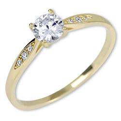 Zlatý zásnubní prsten s krystaly 229 001 00809