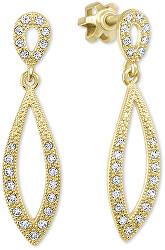 Dámské zlaté náušnice s čirými krystaly 239 001 00876