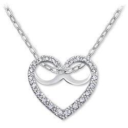 Romantický náhrdelník Srdce s kryštálmi 279 001 00089 07 (retiazka, prívesok)