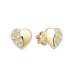 Zlaté náušnice Srdíčka s krystaly 239 001 00878