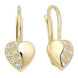 Zlaté srdíčkové náušnice s krystaly 239 001 00880