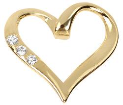 Zlatý přívěsek srdce s krystaly 249 001 00354