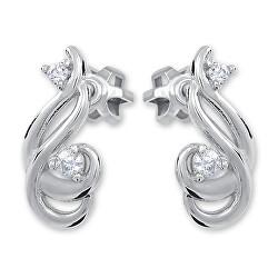 Designové stříbrné náušnice s zirkonem 436 001 00546 04