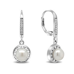 Elegantné strieborné náušnice s perlou a zirkónmi EA89