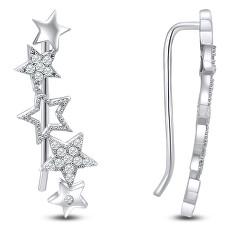 Hvězdičkové podélné stříbrné náušnice se zirkony EA84W