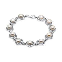 Nadčasový strieborný náramok s perlami BRC03