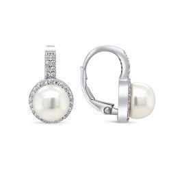 Nežné strieborné náušnice s perlou a zirkónmi EA93