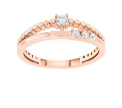 Gyengéd bronz gyűrű cirkónium kövekkel GR045R