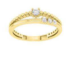 Gyengéd aranyozott gyűrű cirkónium kövekkel GR045Y