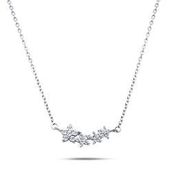 Nežný strieborný náhrdelník s kvetinkami NCL02W