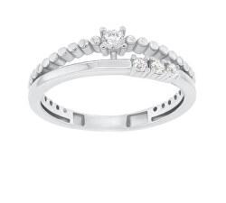 Gyengéd ezüst gyűrű cirkónium kövekkel GR045W