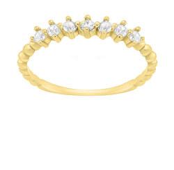 Půvabný pozlacený prsten se zirkony SR031Y