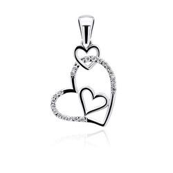 Romantický stříbrný přívěsek srdce se zirkony PT12W
