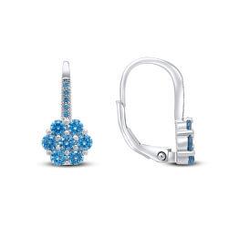 Stříbrné náušnice kytičky s modrými zirkony EA74