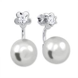 Strieborné náušnice so syntetickou perlou a čírym kryštálom 2v1 438 001 01784 04