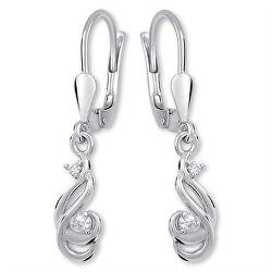 Třpytivé stříbrné náušnice s krystaly 436 001 00549 04