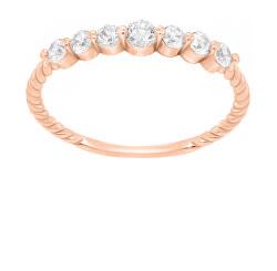 Třpytivý bronzový prsten se zirkony GR162R