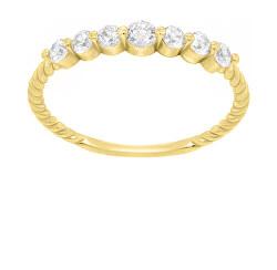 Třpytivý pozlacený prsten se zirkony GR162Y