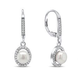 Úchvatné strieborné náušnice s perlou a zirkónmi EA91