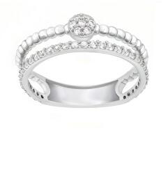 Gyengéd ezüst gyűrű cirkónium kövekkel GR063W