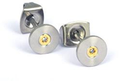 Pozlacené titanové náušnice s diamantem 0545-02