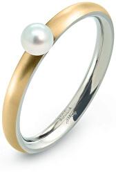 Pozlacený titanový prsten s perličkou 0145-02