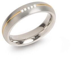 Pozlacený titanový snubní prsten s diamanty 0130-04