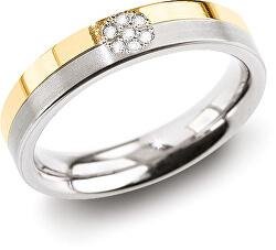 Úžasný prsten z titanu s diamanty 0129-06