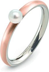 Růžově pozlacený titanový prsten s perličkou 0145-03