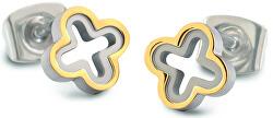 Titanové bicolor náušnice čtyřlístky 05016-02