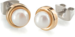 Pozlátené titánové náušnice s perlou 0594-02