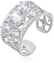 Otvorený prsteň so zirkónmi Corinto BOI31