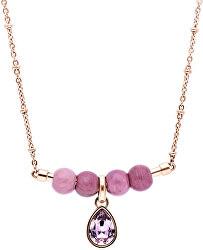 Ružovo pozlátený oceľový náhrdelník s kryštálom Trés Jolie BTJMS694