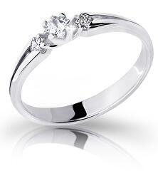 Elegantní zásnubní prsten z bílého zlata s diamanty DZ6866-2105-00-X-2
