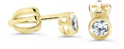 Minimalistické peckové náušnice ze žlutého zlata s brilianty DZ62231-30-00-X-1