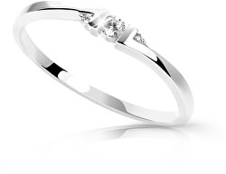 Minimalistafehér arany gyűrű gyémántokkal DZ6714-3053-00-X-2