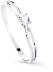 Csillogó fehér arany eljegyzési gyűrű gyémánttal DZ8027-00-X-2