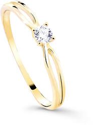 Třpytivý zásnubní prsten ze žlutého zlata s briliantem DZ8027-00-X-1