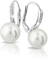 Exkluzivní náušnice z bílého zlata s pravými perlami a zirkony Z6432-3122-50-10-X-2