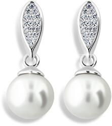 Luxusné náušnice z bieleho zlata s pravými perlami a zirkónmi Z6412-3124-10-X-2