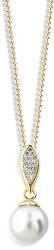 Luxusný prívesok zo žltého zlata s pravou perlou a zirkónmi Z6304-3152-40-10-X-1