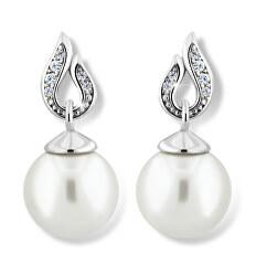 Působivé perlové náušnice z bílého zlata Z6397-3125-10-X-2