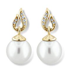 Pôsobivé perlové náušnice zo žltého zlata Z6397-3125-10-X-1