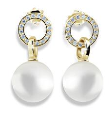 Pôvabné perlové náušnice zo žltého zlata so zirkónmi Z6411-3123-10-X-1