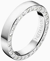 Luxusné oceľový prsteň s kryštálmi Hook KJ06MR0403