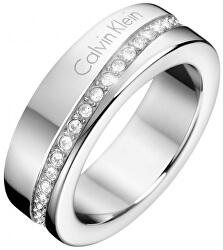 Ocelový prsten s krystaly Hook KJ06MR0402